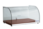 Exquisite CD25 One Tier Curved Glass Ambient Cake Display - Elegant Walnut