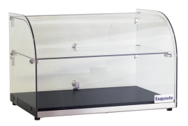 Exquisite CD45-B Two Tiers Curved Glass Ambient Cake Display - Woodgrain Black