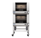 Turbofan E27M3/2C - Full Size Tray Manual Electric Convection Ovens Double Stacked With Castor Base Stand