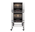 Turbofan E28D4/2 - Full Size Digital Electric Convection Ovens Double Stacked on a Stainless Steel Base Stand