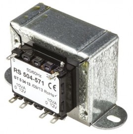 RS 504-571 20VA two output chassis mounting transformer - 12 volt