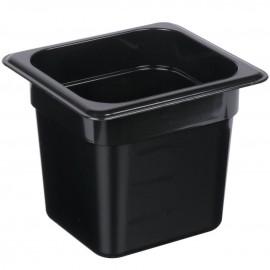 1/6 Size - Polycarbonate Steam Pan Black - 150mm deep