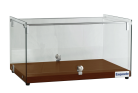 Exquisite CD35 One Tier Flat Glass Ambient Cake Display - Elegant Walnut